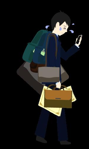 かなり荷物を持つ人のイラスト2