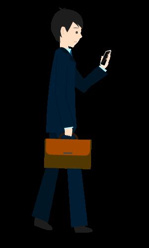 スマホ歩きする人のイラスト