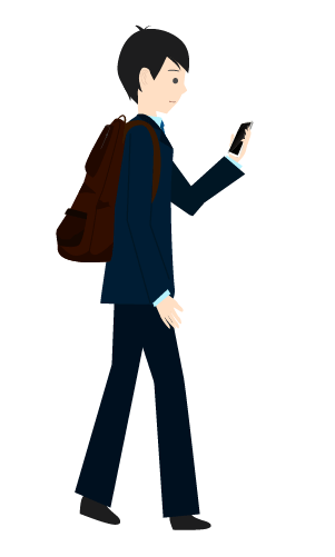スマホ歩きする人のイラスト2