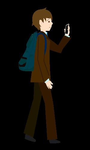 スマホ歩きする人のイラスト3