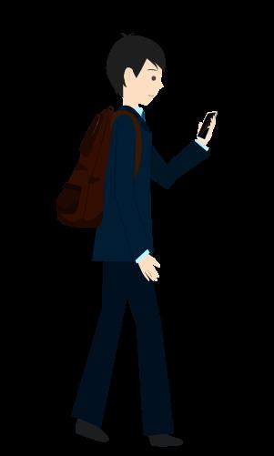 スマホ歩きする人のイラスト5