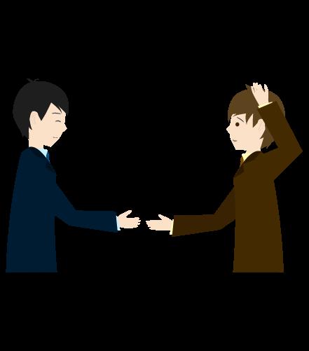 握手を求めるビジネスマンのイラスト