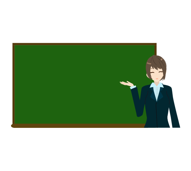 黒板とビジネスウーマンのイラスト