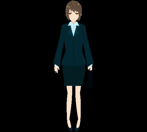 ビジネスウーマン(立ち絵正面)のイラスト