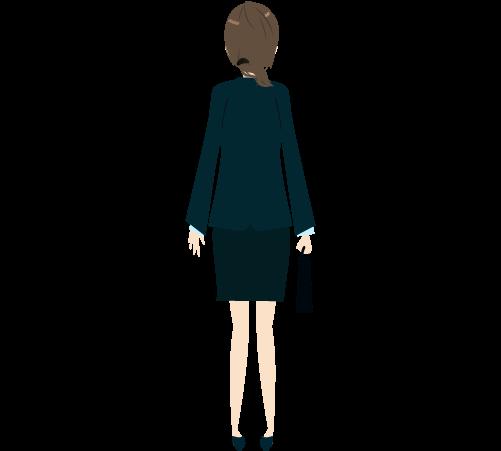 ビジネスウーマン(立ち絵後ろ)のイラスト