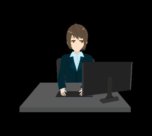 パソコン作業する女性のイラスト