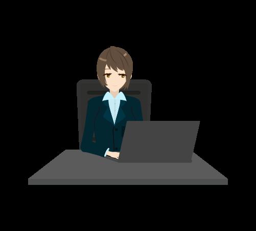 パソコン作業する女性のイラスト2
