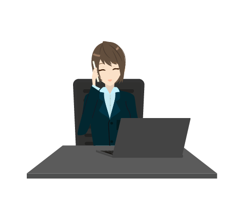 作業中に電話する女性のイラスト