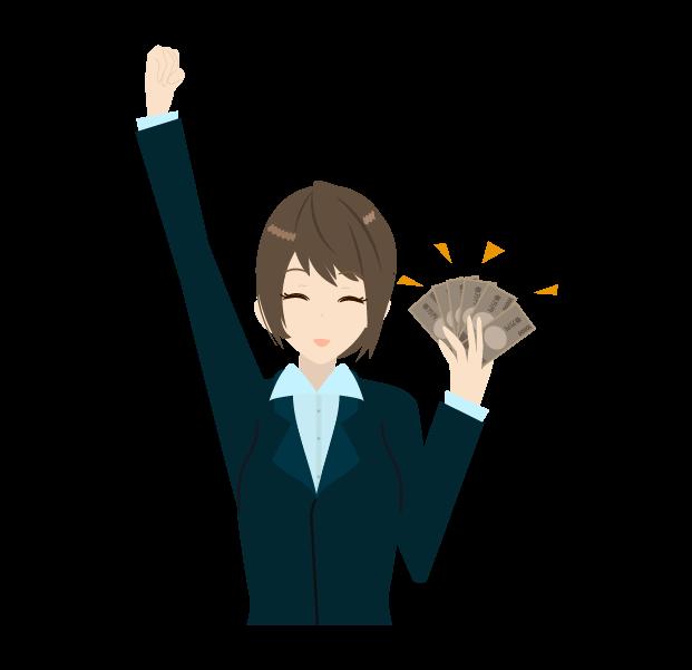 お金と笑顔のビジネスウーマンのイラスト