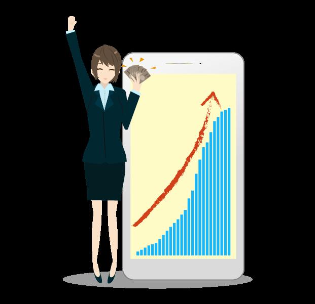 スマホのアップグラフとビジネスウーマンのイラスト