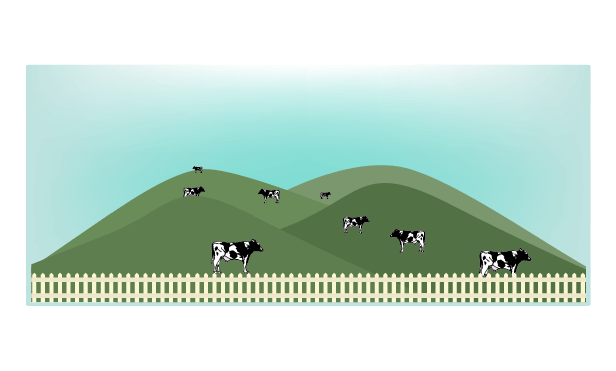 朝の牧場のイラスト