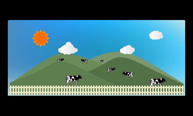 昼の牧場のイラスト