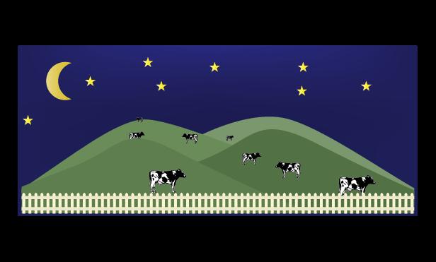 夜の牧場のイラスト