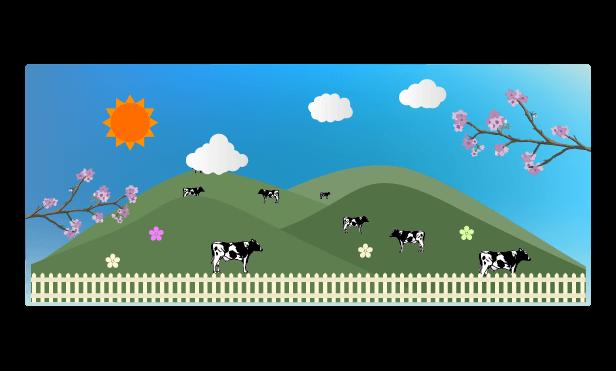 春の牧場のイラスト