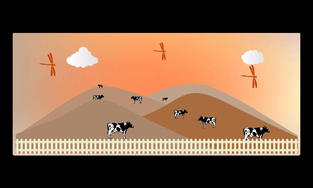 秋の牧場のイラスト