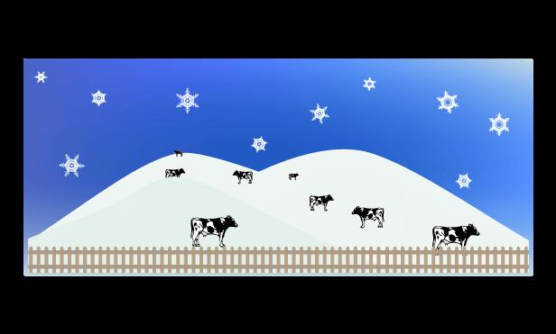冬の牧場のイラスト