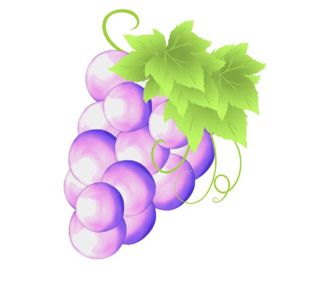 ぶどうの葉っぱ、蔦で装飾して完成したぶどうのオリジナルイラスト
