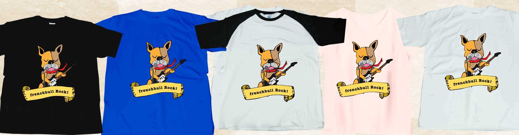 フレンチブルロックイラストTシャツ