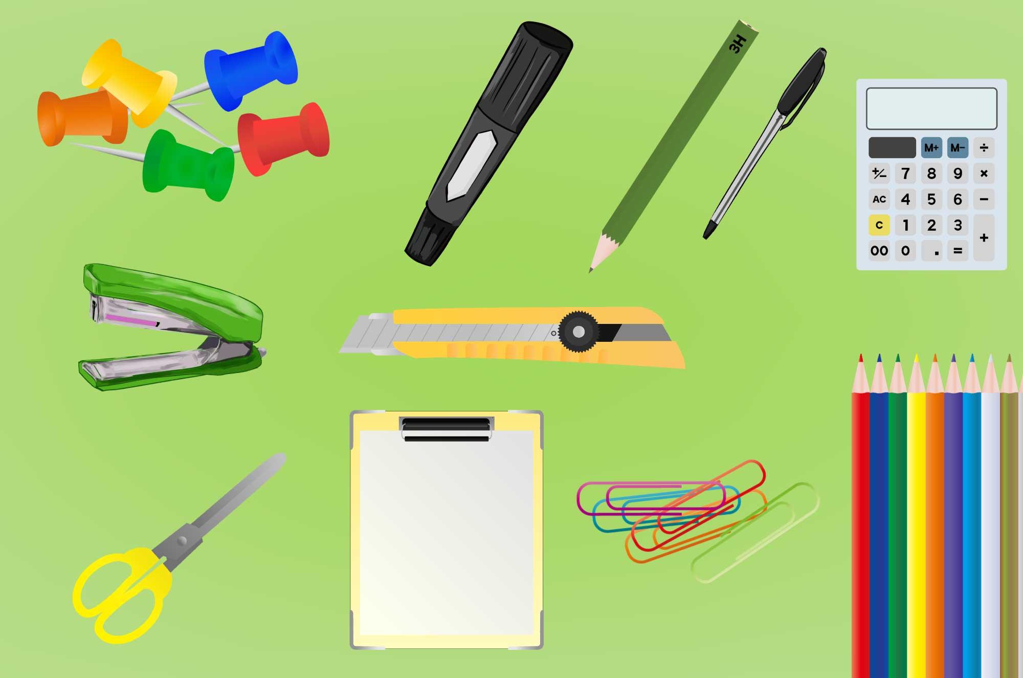 文房具の無料イラスト - 生活・仕事で使う道具の素材