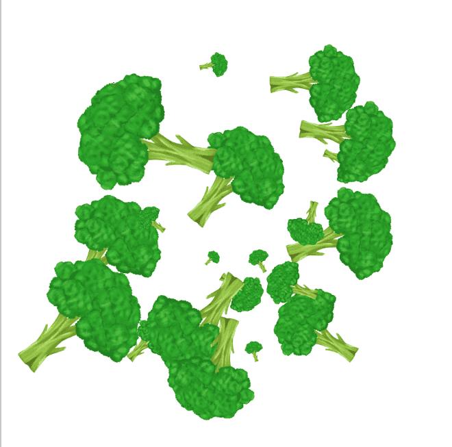 オリジナルブロッコリーブラシで描画したブロッコリーのイラスト