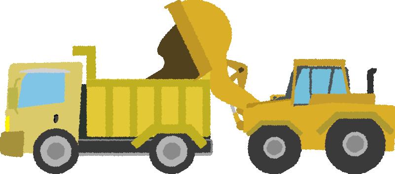 ダンプカーに土を積むホイールローダーのイラスト