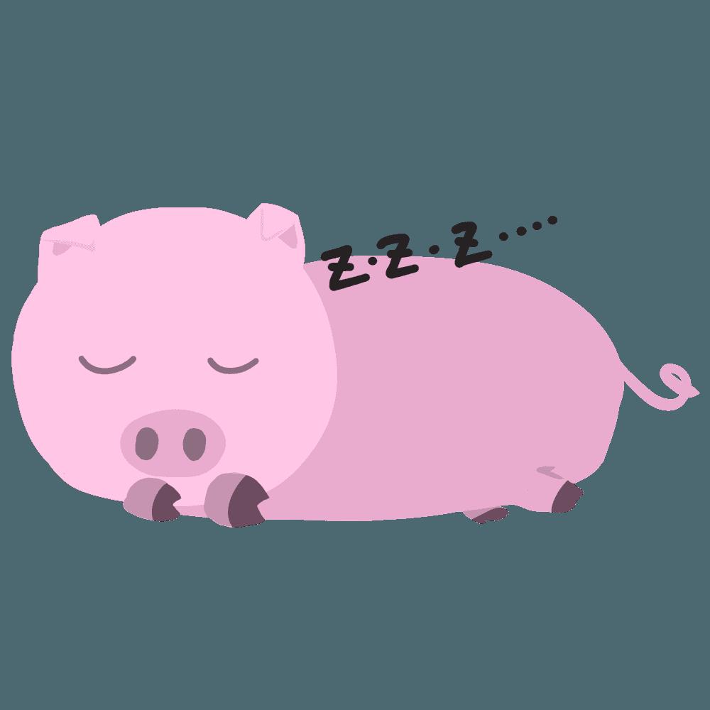 寝ている豚イラスト