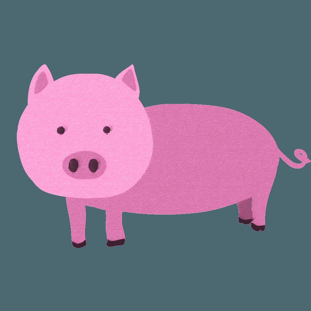 スケッチタッチの豚イラスト