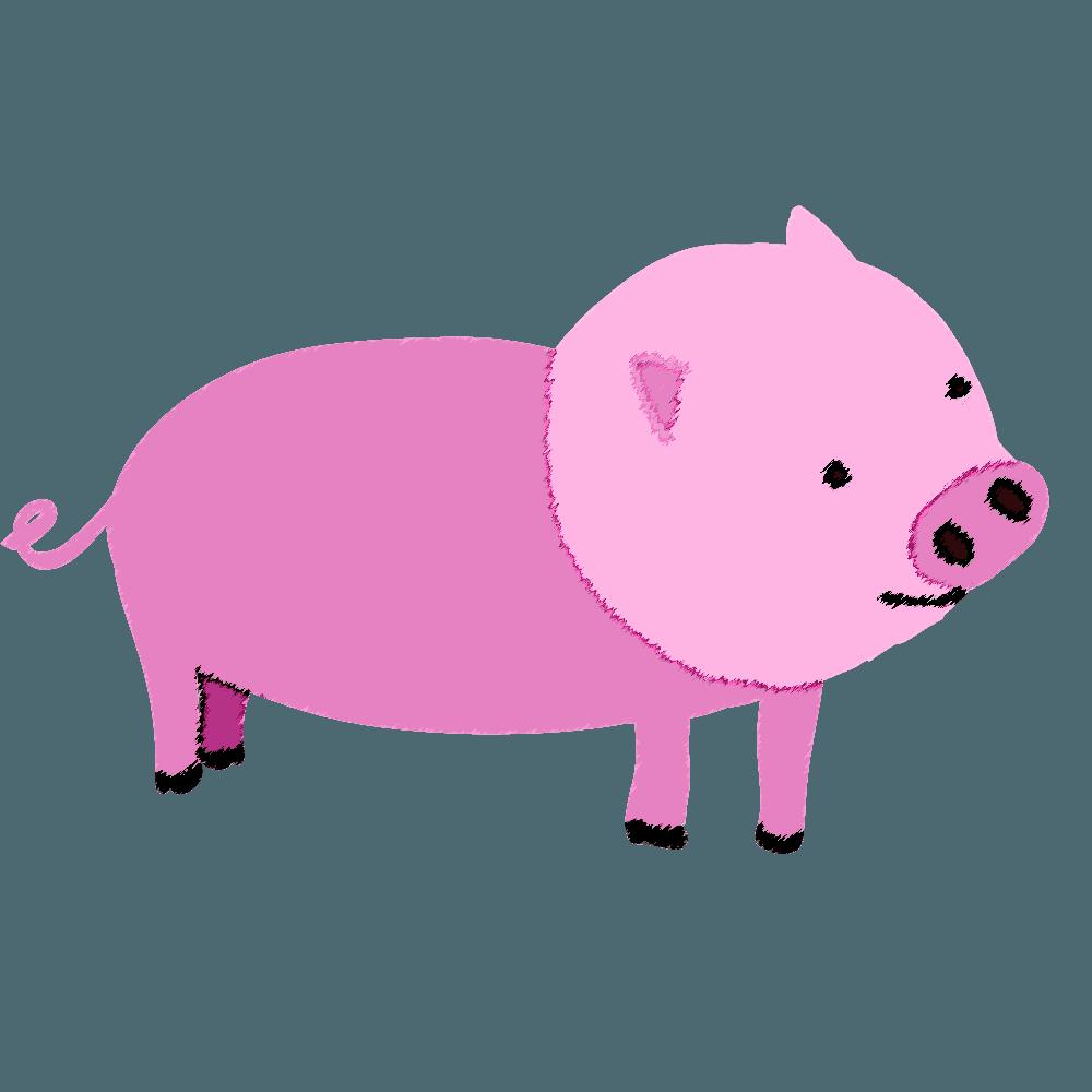 クレヨンタッチの豚イラスト