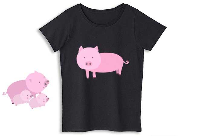 豚レディースTシャツ