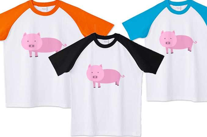 豚のラグランTシャツ