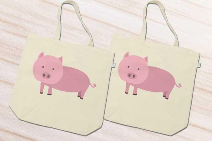 豚のトートバッグ