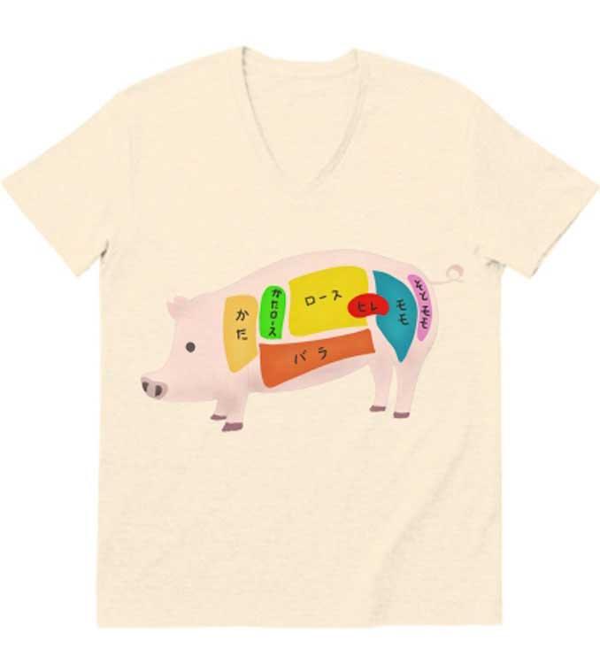 豚肉の部位が一瞬でわかるおもしろTシャツ
