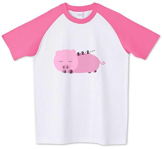 豚が寝ているオリジナルラグランTシャツ