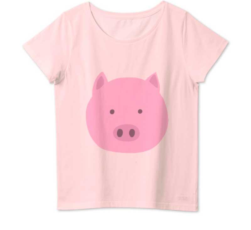 可愛い豚の顔Tシャツ