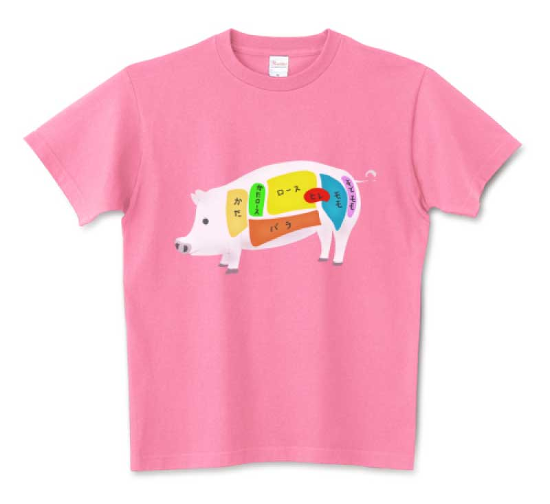 豚肉の面白Tシャツ