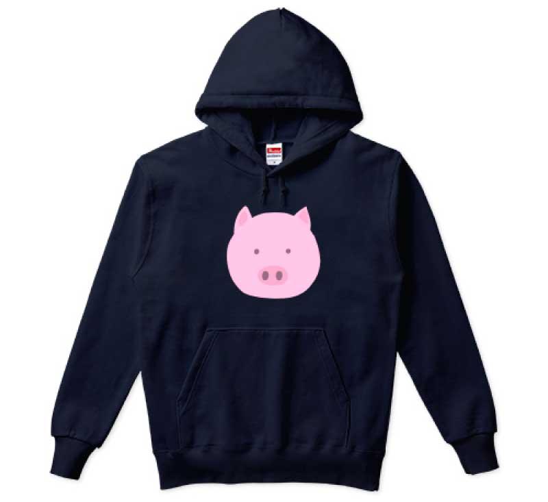 豚の顔パーカー