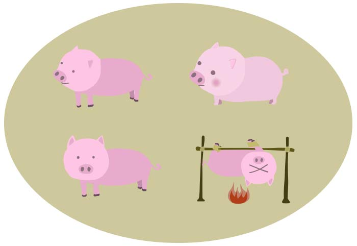 豚のベクター素材