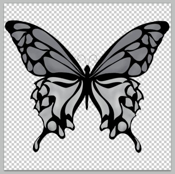 シルバーカラーの羽の蝶のイラスト