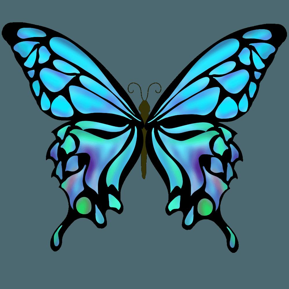 水色の蝶イラスト