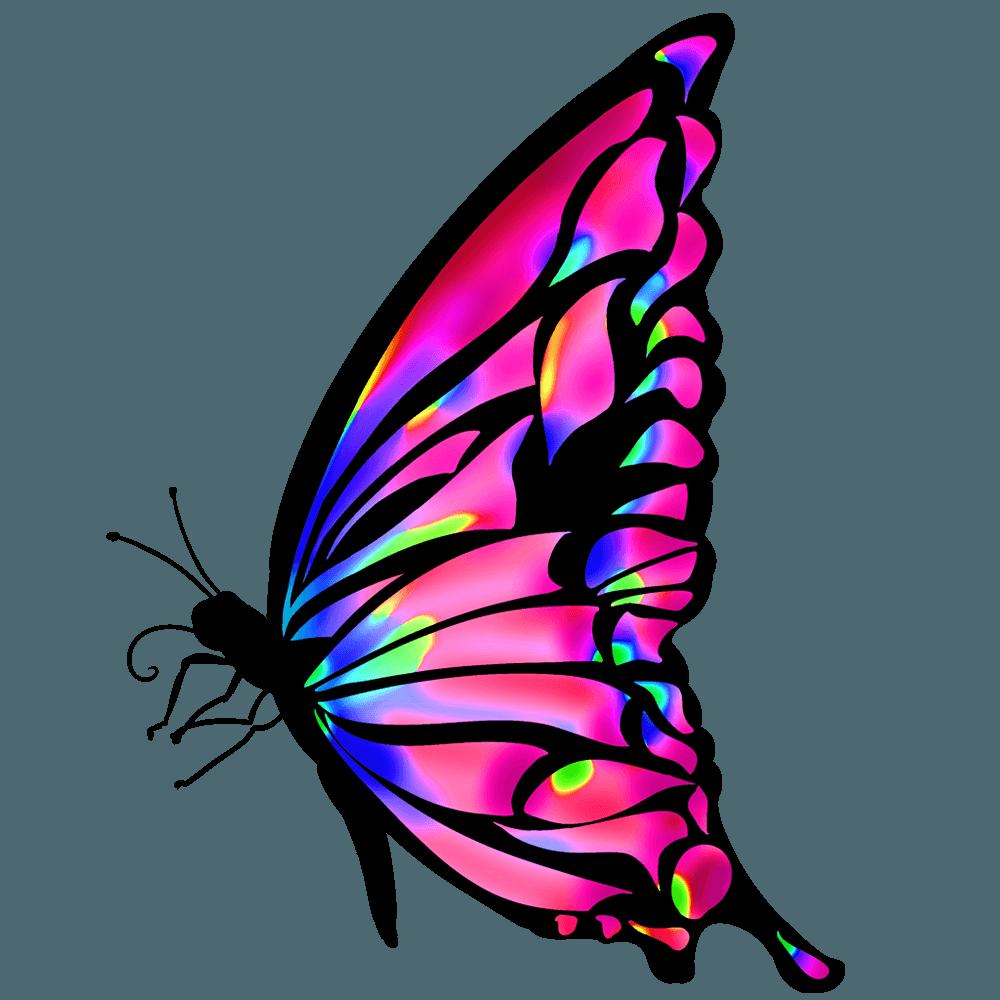 青からマゼンタのグラデーションの蝶イラスト