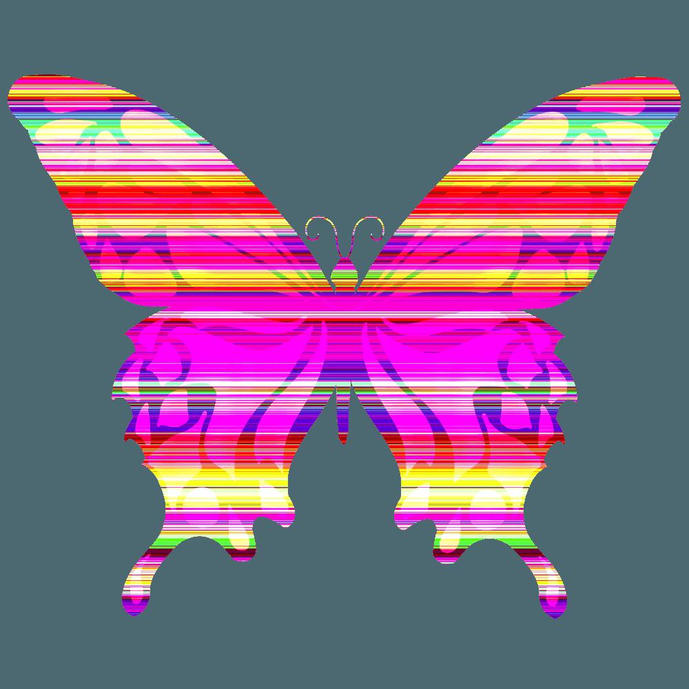 蝶のカラフルなシルエットのイラスト