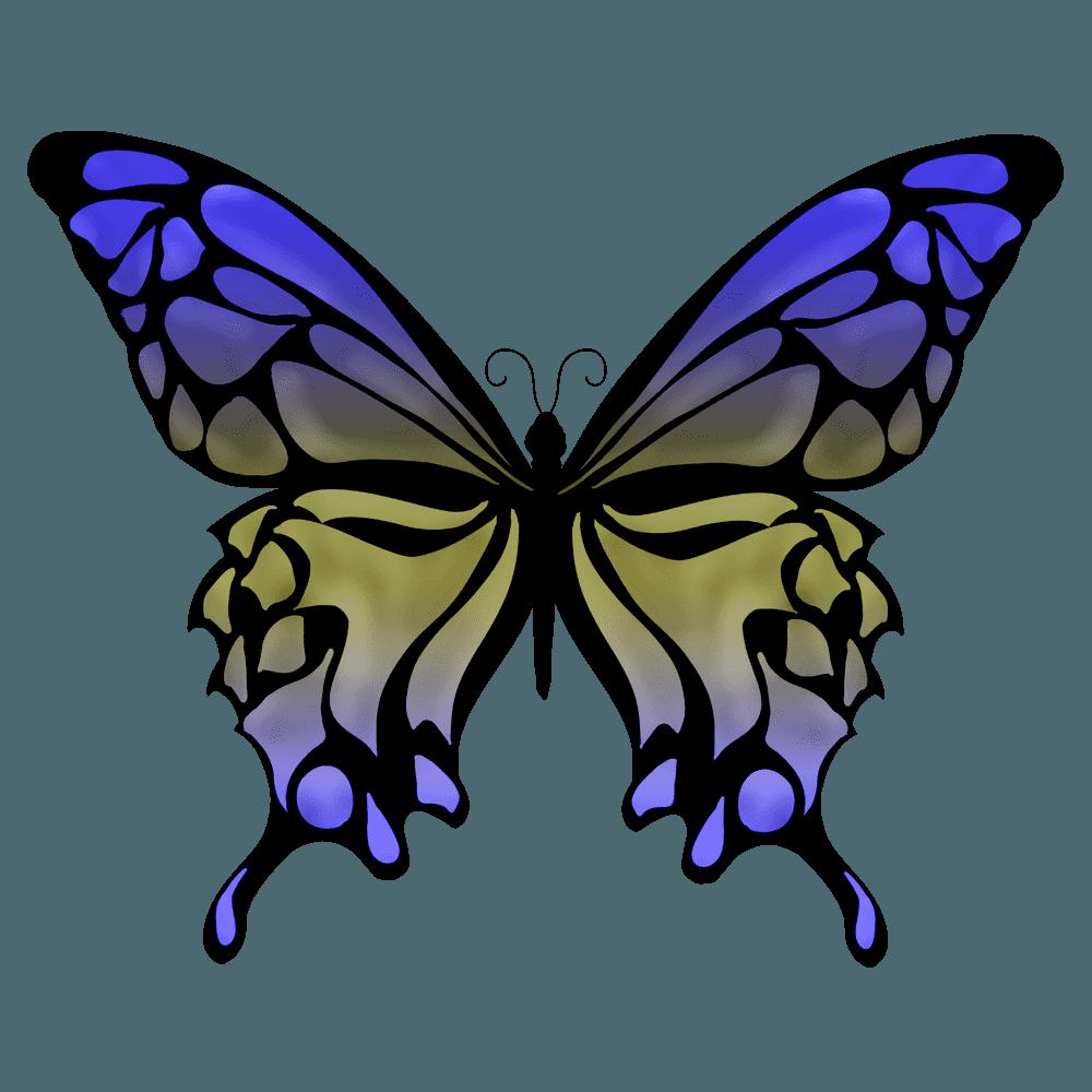 中性色青いダルトーンの蝶イラスト