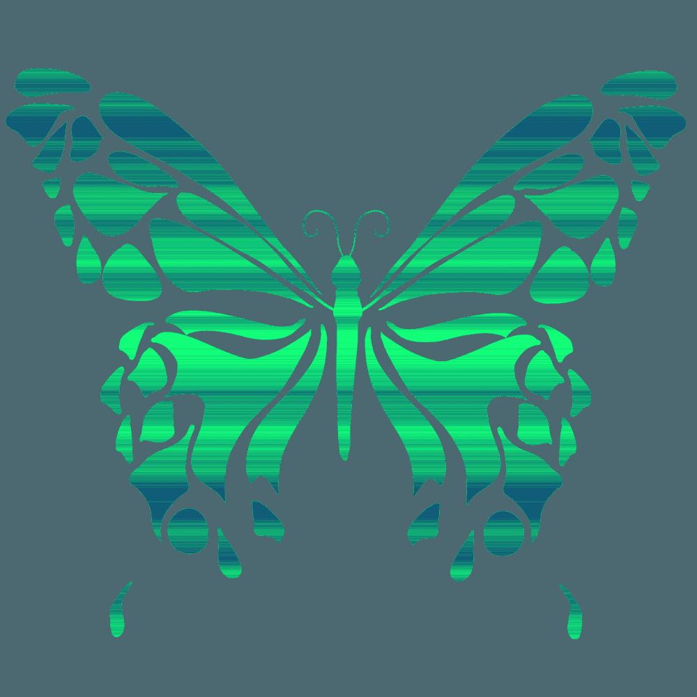 青から緑に変わるアートな蝶のイラスト