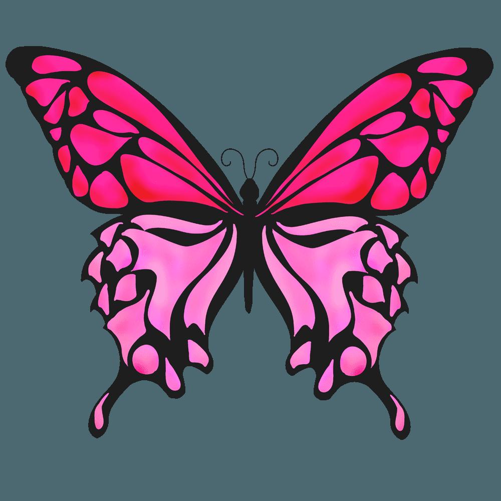 赤い羽の蝶イラスト