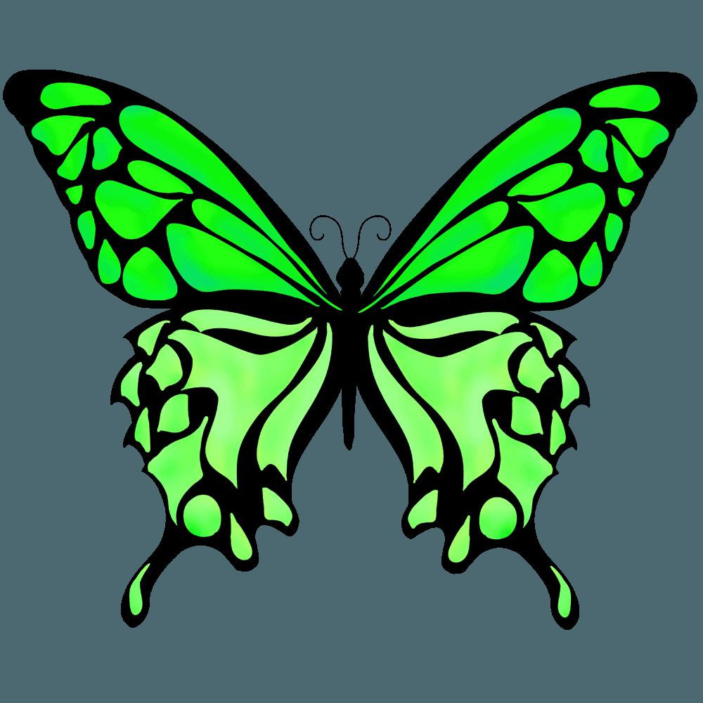 緑色のはねのチョウチョイラスト