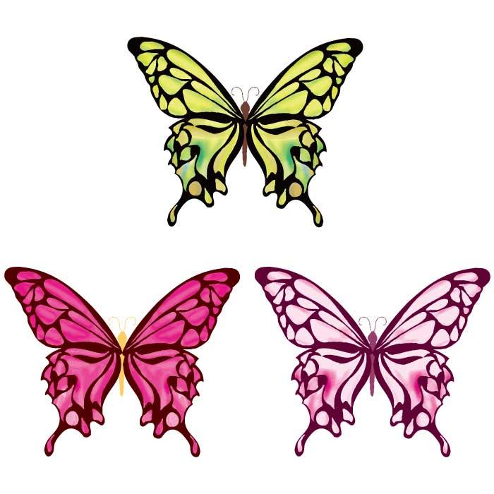 綺麗な蝶のベクターイラスト3種
