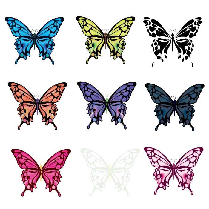 綺麗な蝶のベクターイラスト9種