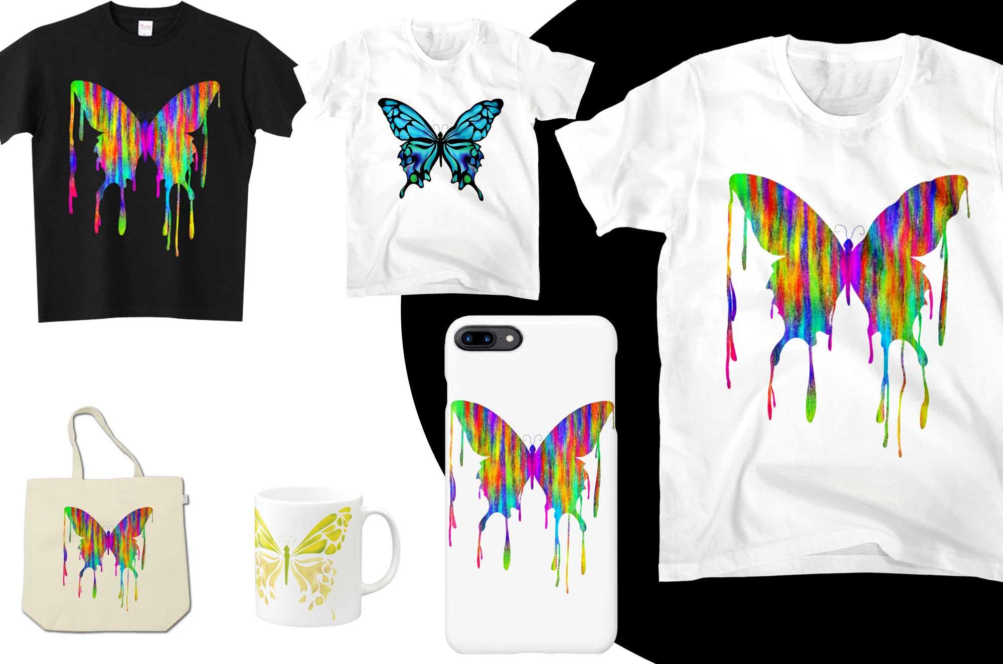不思議な蝶々のデザインTシャツ - とっても可愛いアート