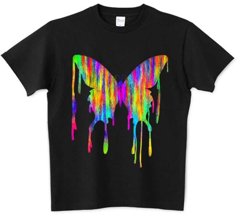 可愛い油彩アート蝶々のTシャツ
