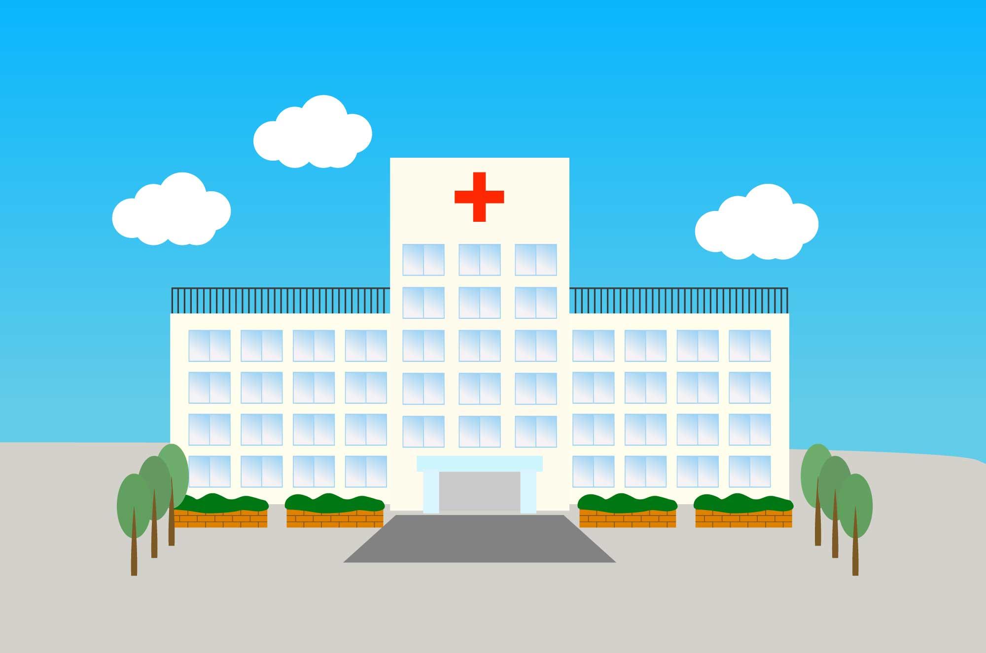 病院の無料イラスト - 建物のイメージ挿絵フリー素材 - チコデザ